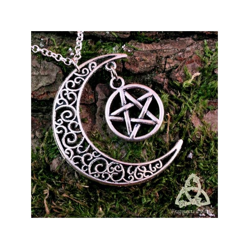 collier elfique lune et pentacle noeud celtique argent pa en wicca m di val sot risme magie. Black Bedroom Furniture Sets. Home Design Ideas