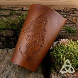 Canon d'avant-bras cuir Wolforn Loup Tribal - marron