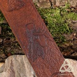 Marque page cuir Fée celtique - Marron