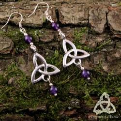 Boucles d'oreilles Neryn Triquetra Celtique - Améthyste