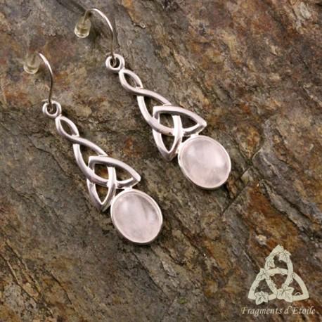 Boucles d'oreilles Eilean Argent massif - Quartz Rose