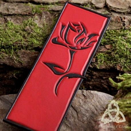 Marque page cuir Rose Eternelle - Rouge et Noir