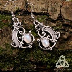 Boucles d'oreilles Aeryn Elendae  - Labradorite blanche (Pierre Lune arc-en-ciel)