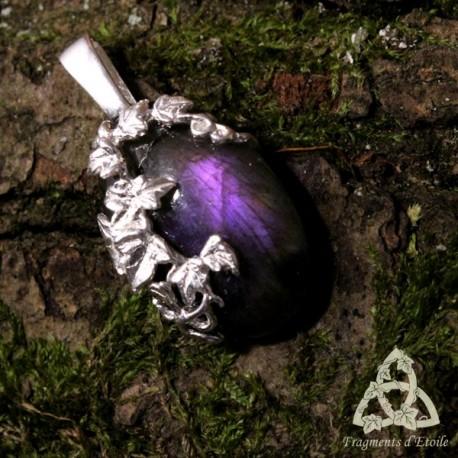 Pendentif Sylvae Argent massif - Labradorite violette