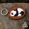 Porte Clés Cuir Panda à la Sieste - Marron Blanc Noir