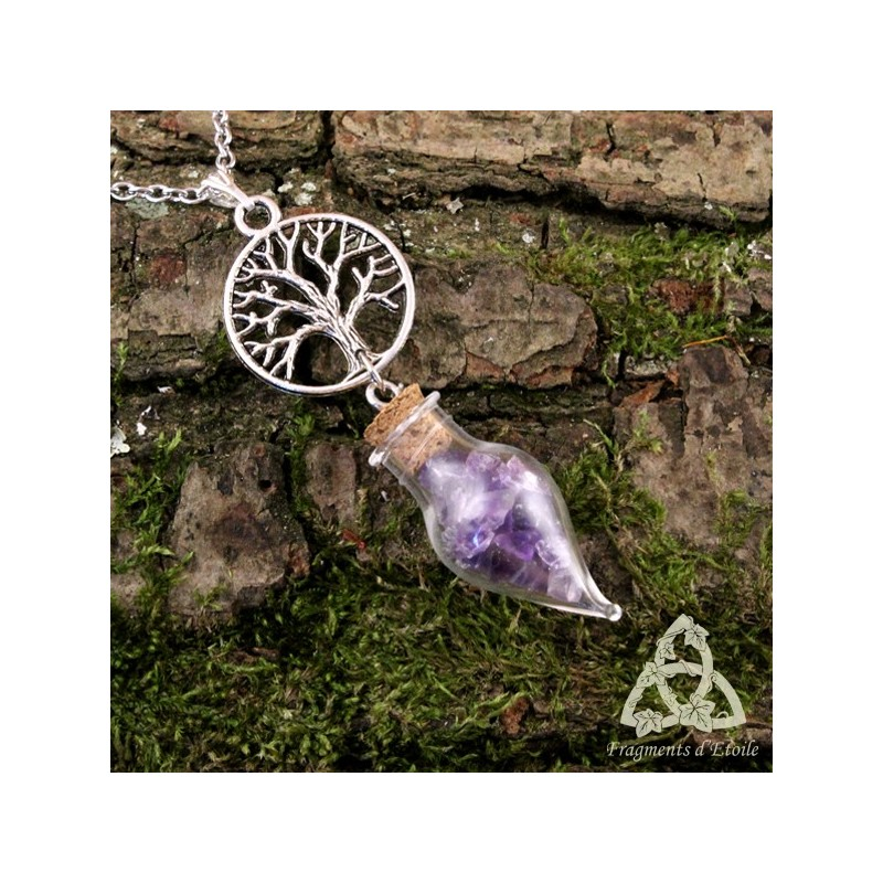 Collier celtique elfique alchemya fiole am thyste violet arbre de vie yggdrasil pendule f erique - Arbre a collier ...