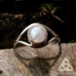 Bague Clair de Lune Labradorite blanche argent massif - taille 55