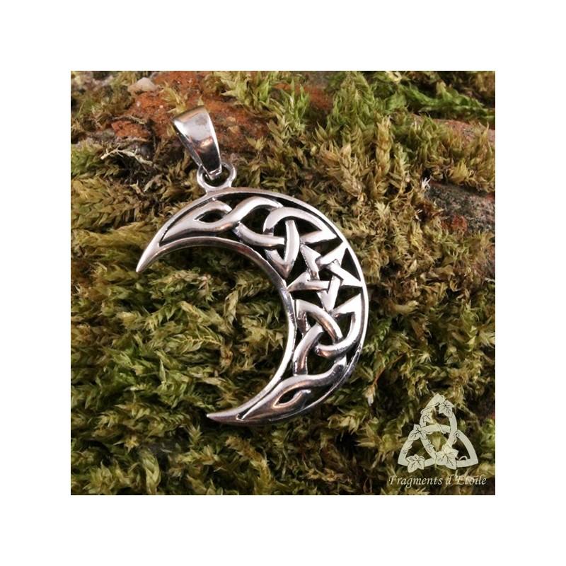 pendentif celtique witch moon lune pentacle noeud cargent massif pa en wicca m di val sot risme. Black Bedroom Furniture Sets. Home Design Ideas