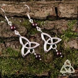 Boucles d'oreilles Neryn Triquetra Celtique - Grenat
