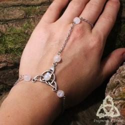 Bracelet de main Keryan Triquetra Celtique - Labradorite blanche (Pierre Lune arc-en-ciel)