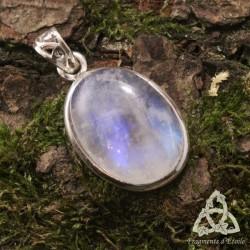 Pendentif Larme elfique Argent massif - Labradorite blanche (Pierre Lune arc-en-ciel)