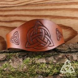 Bracelet Tour de Bras Cuir Bolthar Triquetra celtique - Marron