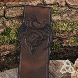 Marque page cuir Dragon et Triquetra - Marron foncé et Noir