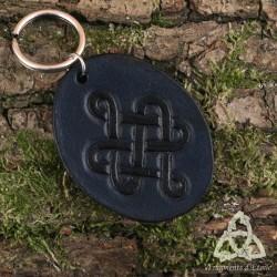 Porte Clés Cuir Umya Noeud celtique - Bleu foncé Noir