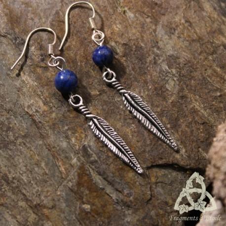 Boucles d'oreilles Plume de Rêves - Lapis Lazuli
