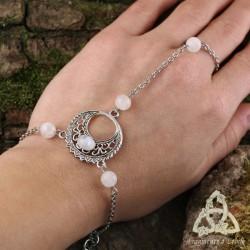 Bracelet de main Luna Astara - Labradorite blanche (Pierre Lune arc-en-ciel)