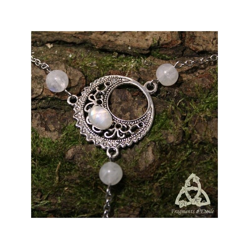 Bracelet de main elfique lune luna astara labradorite - Bracelet arc en ciel ...