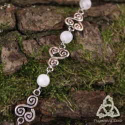 Bracelet Keldwel Spirale celtique - Labradorite blanche (Pierre Lune arc-en-ciel)