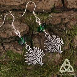 Boucles d'oreilles Arbre des Celtes - Vert forêt