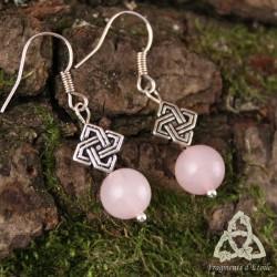 Boucles d'oreilles Kardelon entrelacs celtiques - Quartz Rose