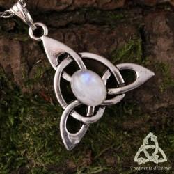 Collier Keryan Triquetra Celtique - Labradorite blanche (Pierre Lune arc-en-ciel)