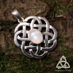 Pendentif celtique Mael Argent massif - Labradorite blanche