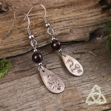 Boucles d'oreilles Little Dragon - Grenat