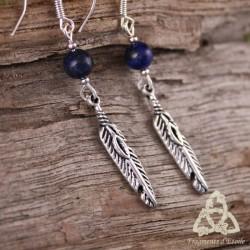 Boucles d'oreilles Plume et Magie - Lapis Lazuli