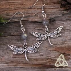 Boucles d'oreilles Libellules féeriques argentées et Labradorite aux reflets vert. Bijou de créateur style Art Nouveau.
