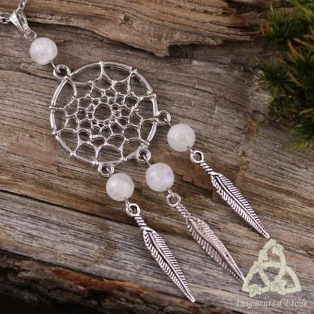 Collier féerique Dreamcatcher Attrape-rêve argenté Labradorite blanche (Pierre Lune arc-en-ciel) amérindien magie ésotérisme