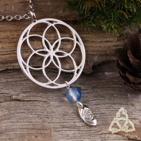 Collier Fleur de Vie - Agate Bleue