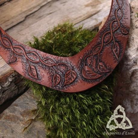 Collier Cuir Alshae volutes et feuilles - Marron et noir