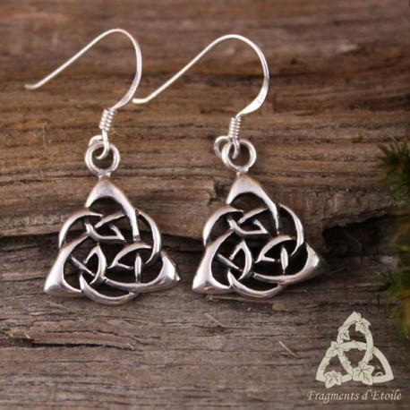 Boucles d'oreilles Misty Triquetra celtique - Argent massif