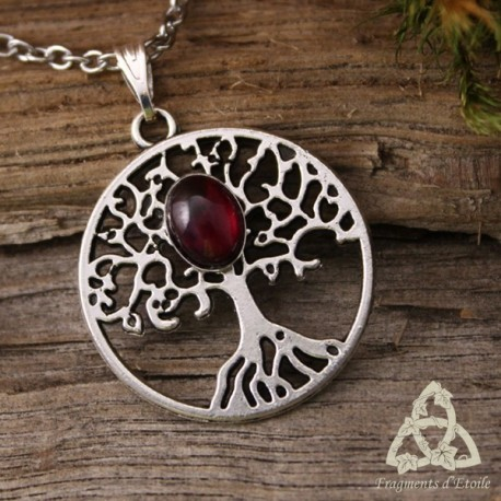Collier Grand Arbre de Vie  - Grenat