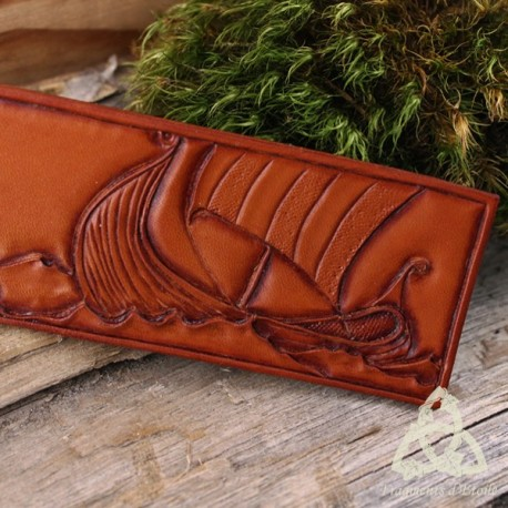 Marque page cuir Accross the Sea Drakkar viking - Brun