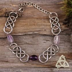Bracelet médiéval celtique entrelacs infinis argentés et pierre gemme naturelle Fluorite violette