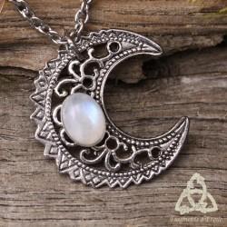 Collier Luna Astara - Labradorite blanche (Pierre Lune arc-en-ciel)