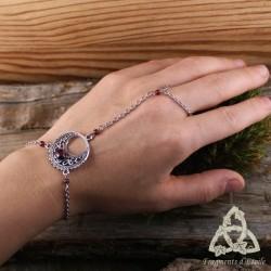Bracelet de main Luna Astara - Grenat