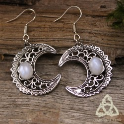 Boucles d'oreilles Luna Astara - Labradorite blanche (Pierre Lune arc-en-ciel)