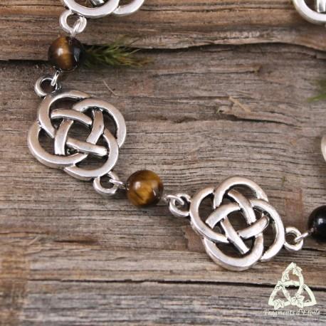 Bracelet médiéval féerique Noeuds celtiques rond argentés pierre fine Oeil de Tigre marron ésotérique