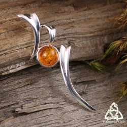 Pendentif elfique Isore Argent massif - Ambre