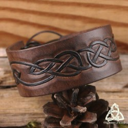 Bracelet Cuir Arkerian - marron foncé noir