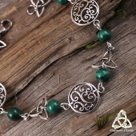Bracelet Kalya volutes elfiques - Malachite