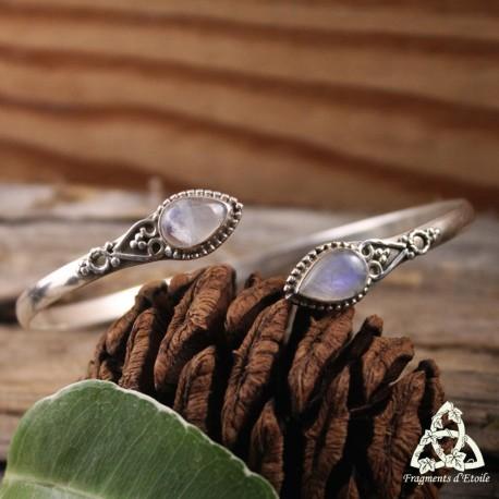 Bracelet fin Dame Elysia - Labradorite blanche (Pierre Lune arc-en-ciel)