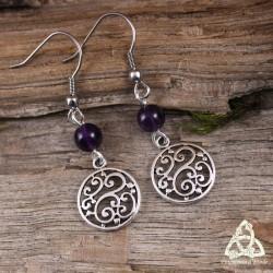 Boucles d'oreilles Kalya volutes elfiques - Améthyste
