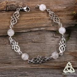 Bracelet Deannel entrelacs - Labradorite blanche (Pierre Lune arc-en-ciel)