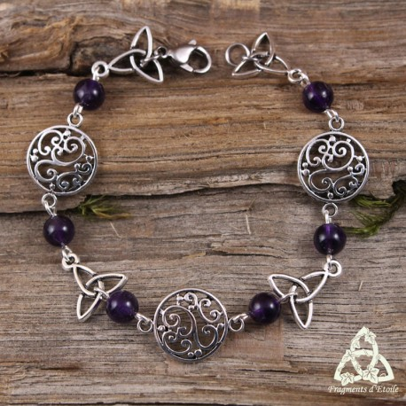 Bracelet elfique volutes Art Nouveau Triquetra celtique Pierre Améthyste violet
