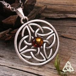 Collier Talelh entrelacs celtiques - Ambre
