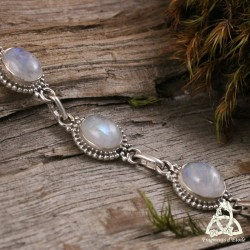 Bracelet Dame Vahryn - Labradorite blanche (Pierre Lune arc-en-ciel)
