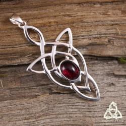 Pendentif noeud celtique Triquetra elfique Argent massif pierre fine Grenat rouge foncé